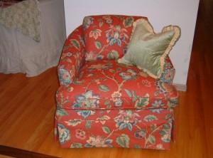 Coral print chair